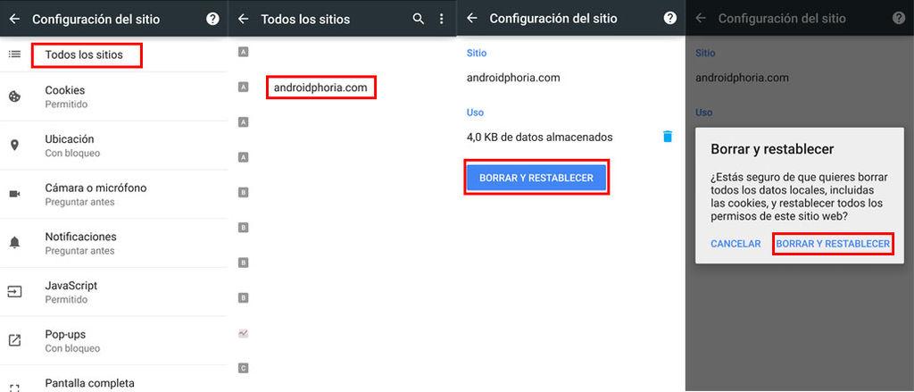 Eliminar datos de una web en Chrome Android