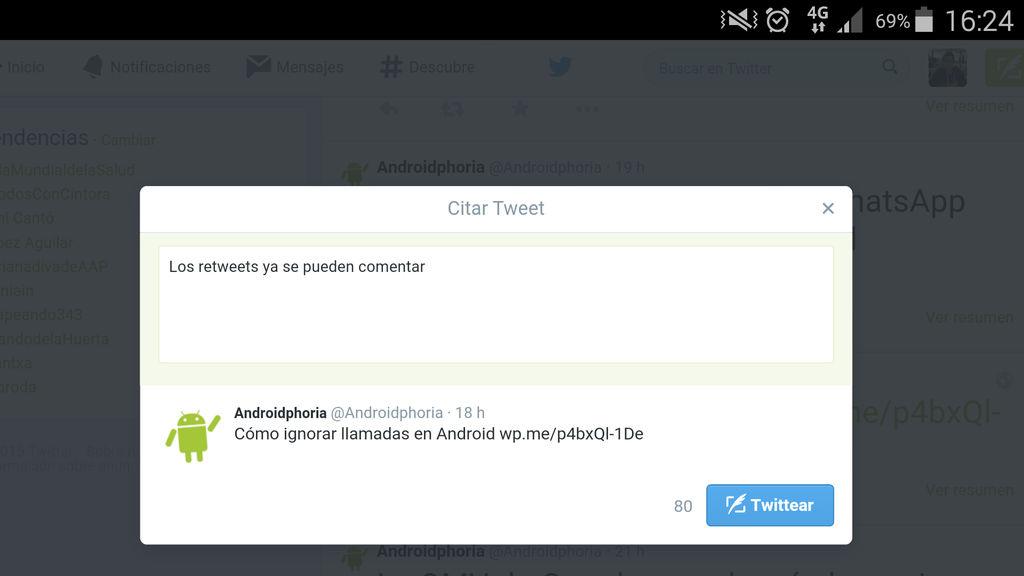 Comentar un tweet en Android