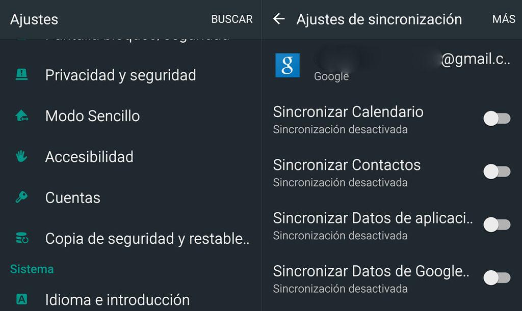 Desactivar sincronización Android