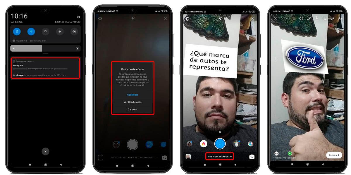 filtro realidad aumentada instagram funcionando