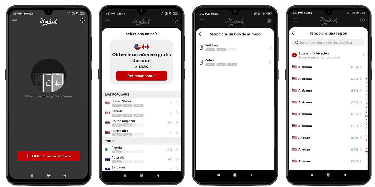 Cómo crear un número virtual en Hushed para WhatsApp