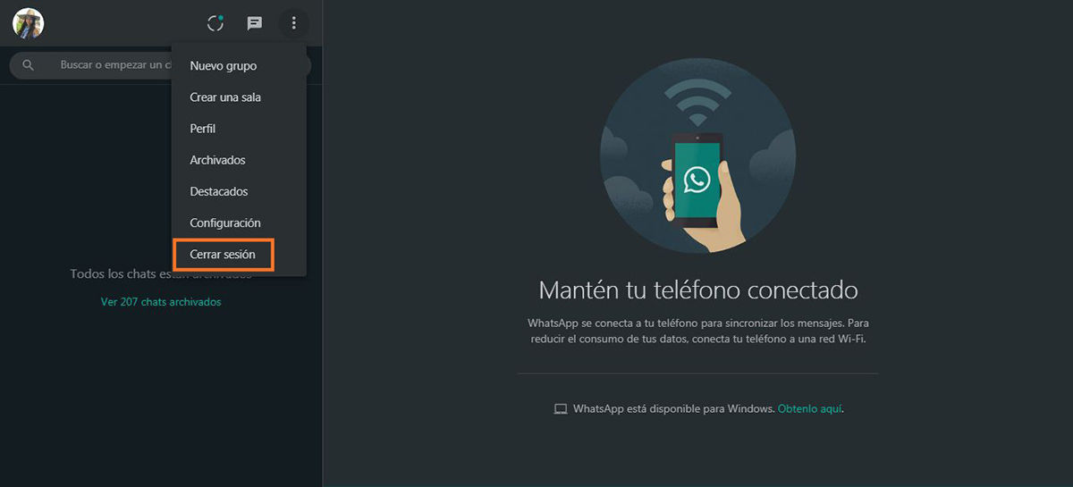 Cerrar sesion en WhatsApp Web y Windows