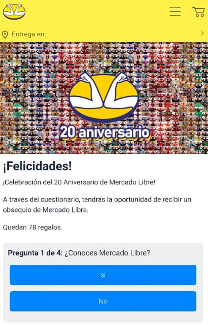 20 aniversario Mercado Libre regalos