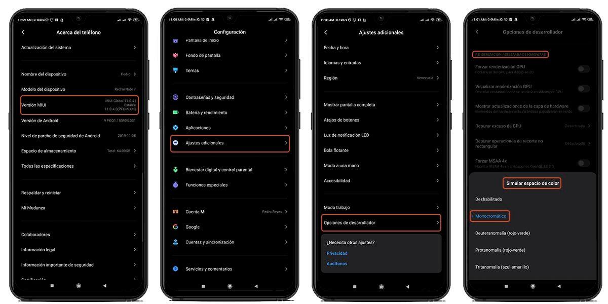 pantalla monocromática Android