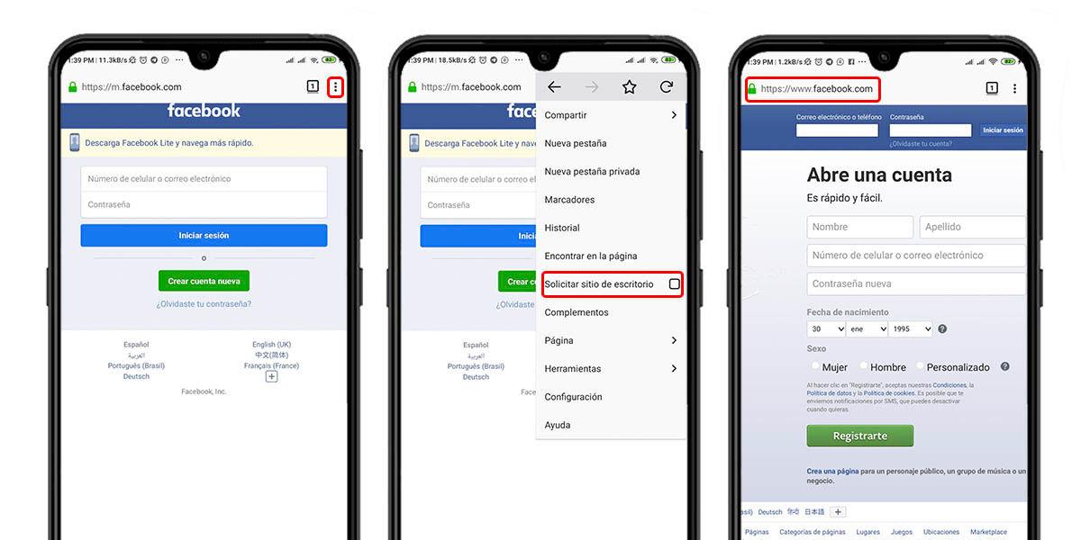 5 modo escritorio facebook