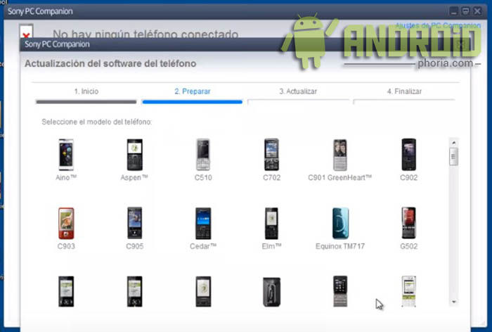5 - seleccionar modelo Sony Xperia