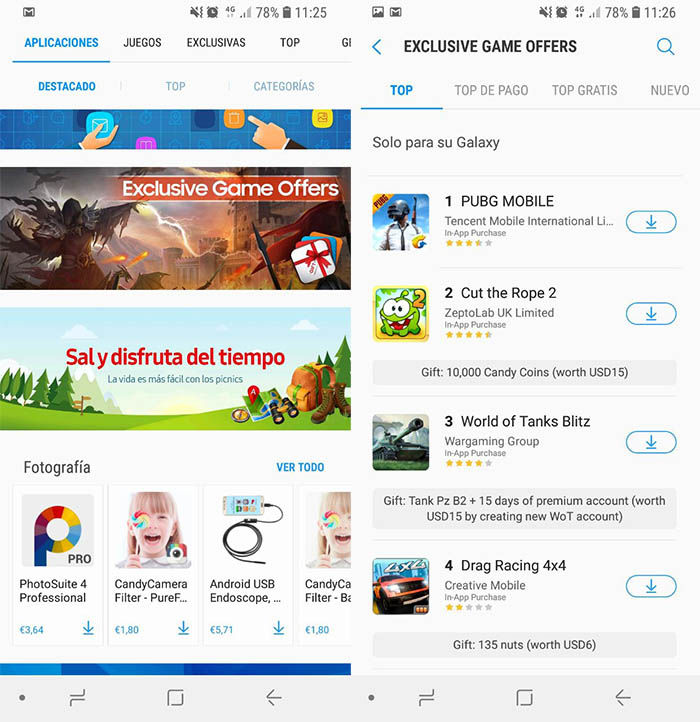 500 euros compras in app gratis Galaxy Apps
