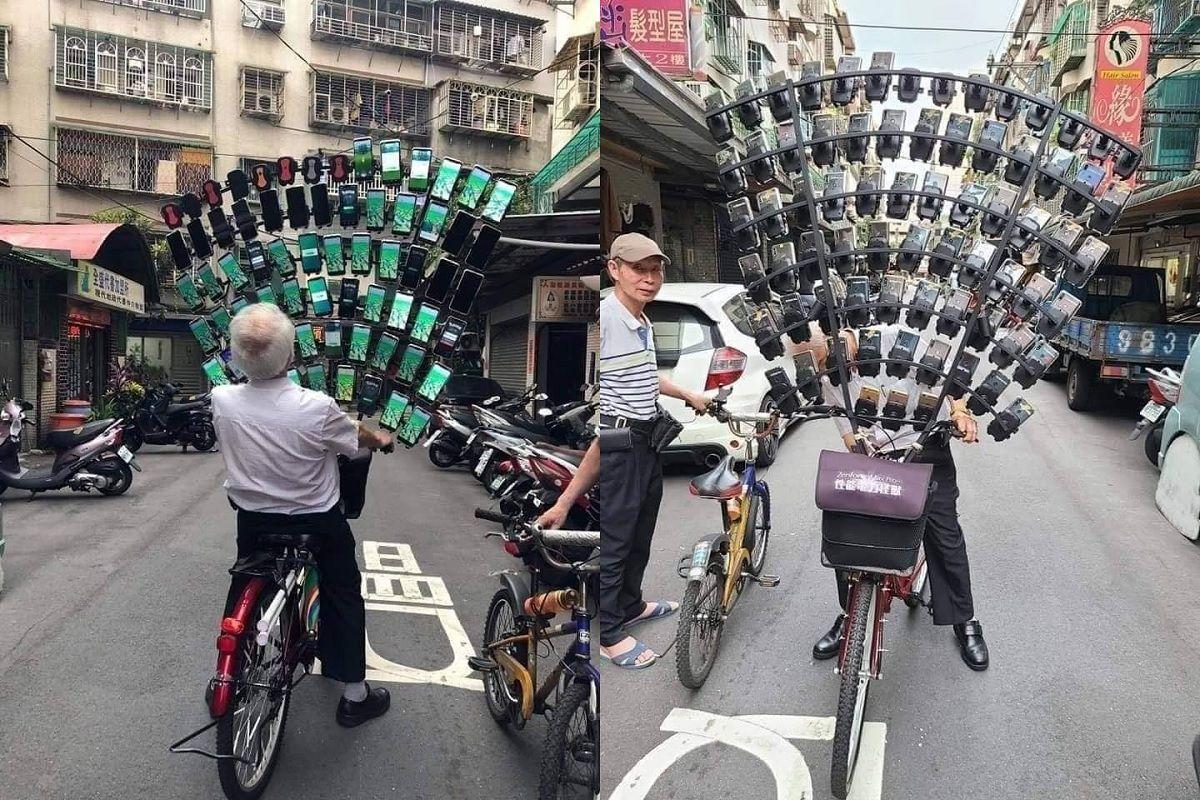64 telefonos conectados a una bici Asi juega el famoso abuelo de Pokemon GO
