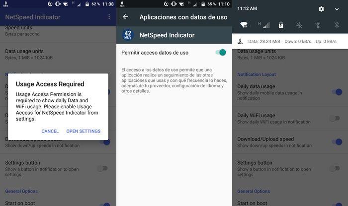 Añadir indicador de consumo de datos en la barra de notificaciones Android