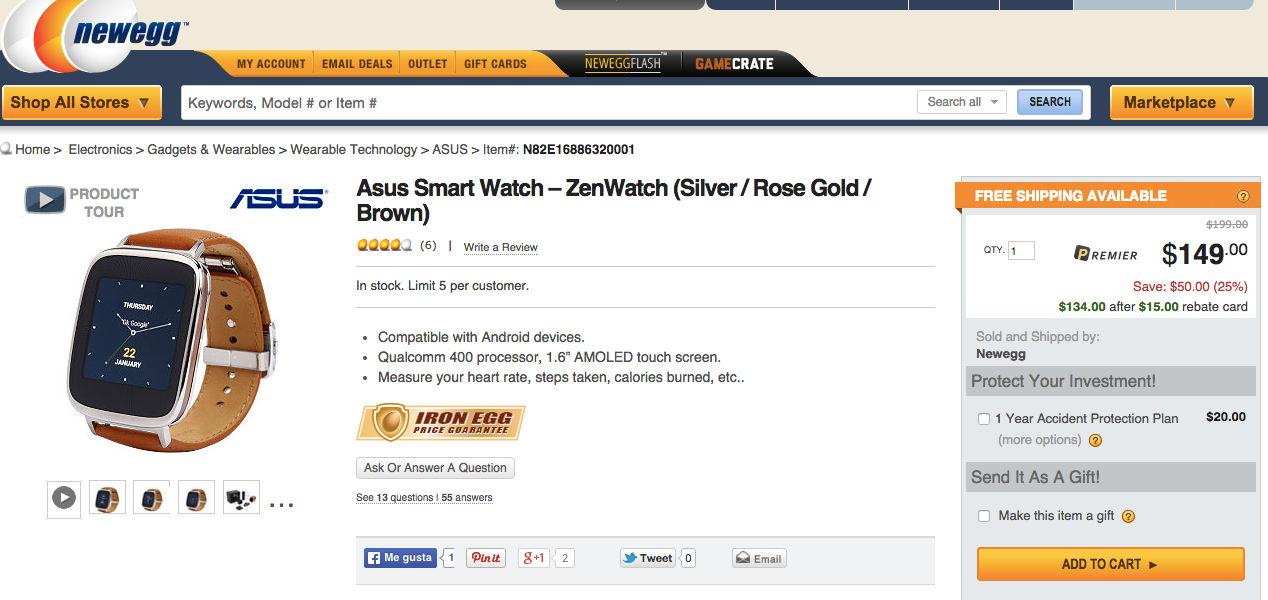 ASUS ZenWatch más barato