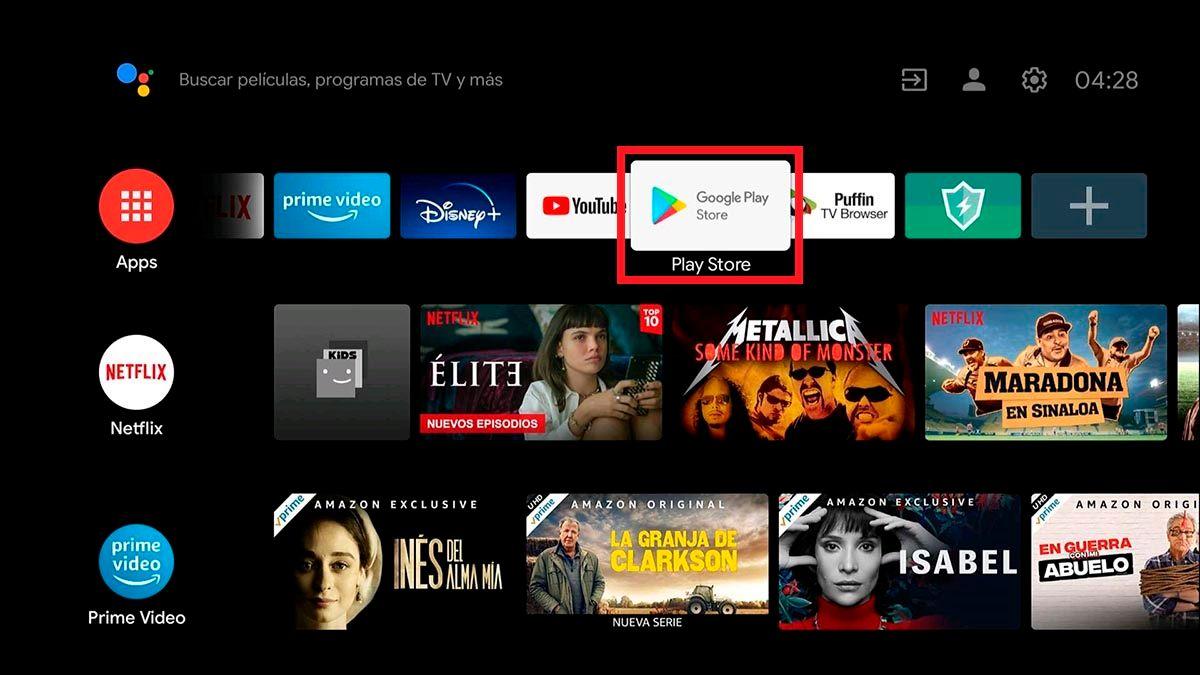 Abrir Google Play Store en Android TV