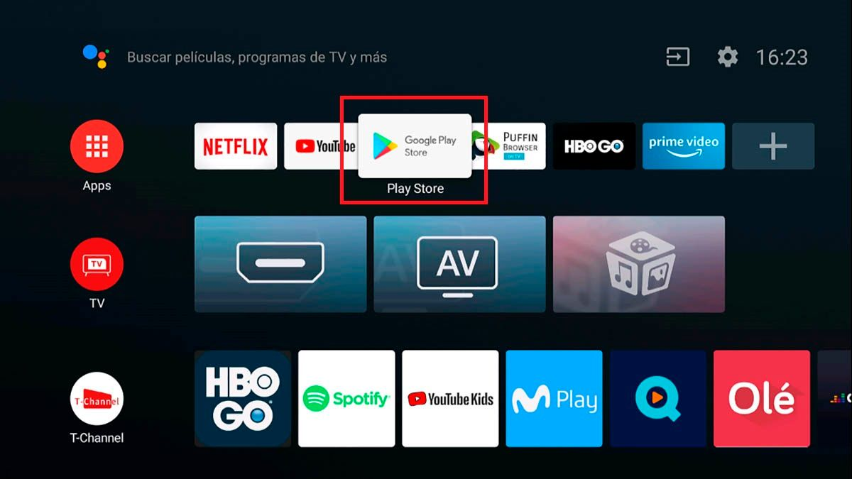 Abrir Play Store Android TV