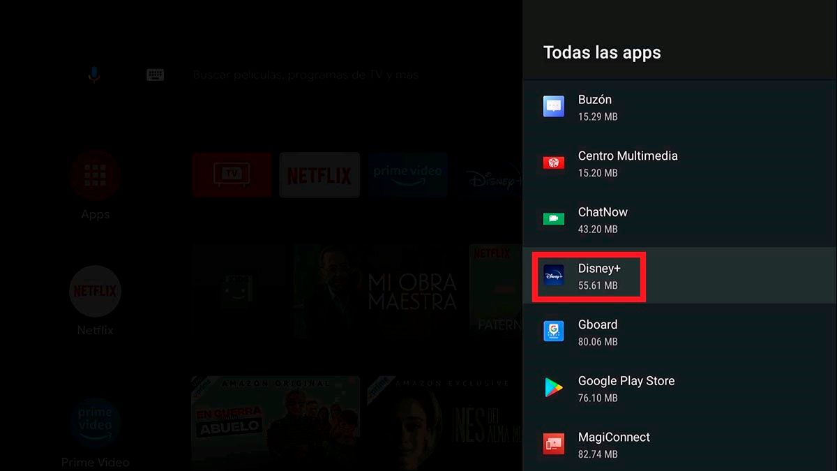 Abrir ajustes de app Android TV