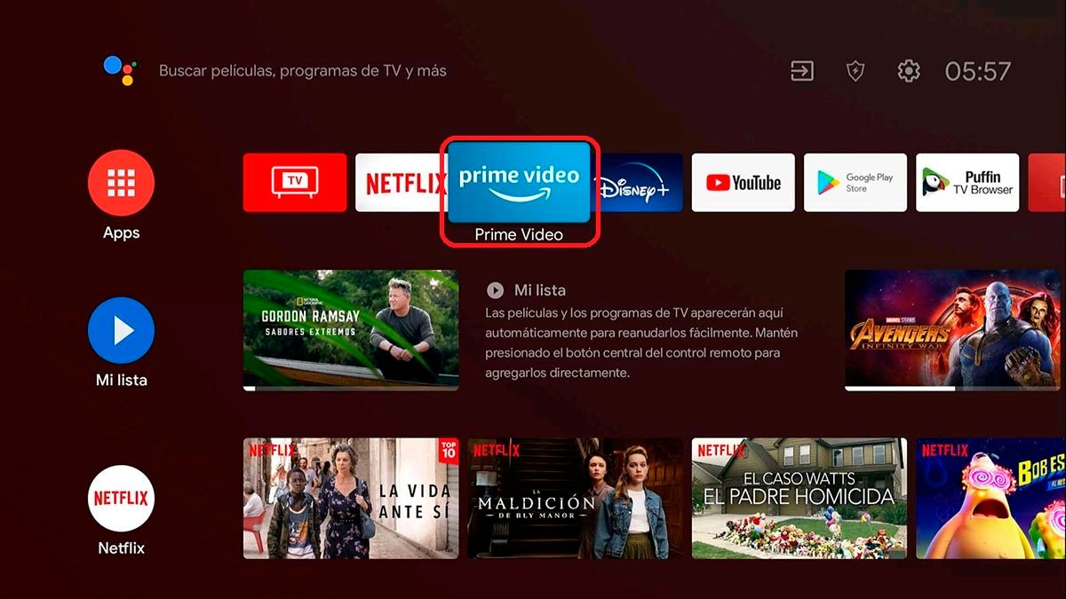 Abrir app Prime Video Android TV
