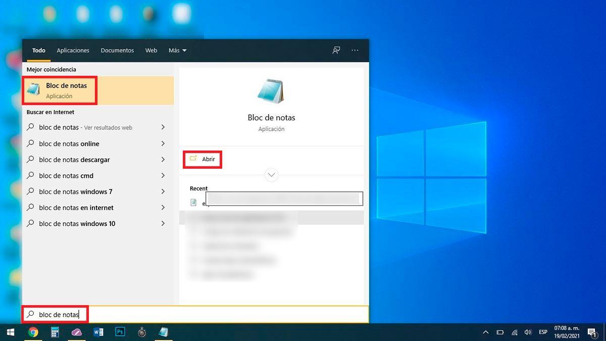 Abrir bloc de notas PC