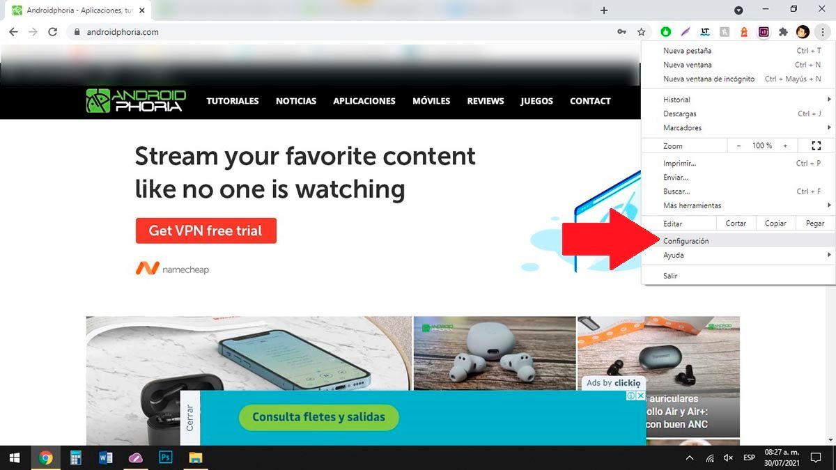Abrir opciones de Chrome en PC