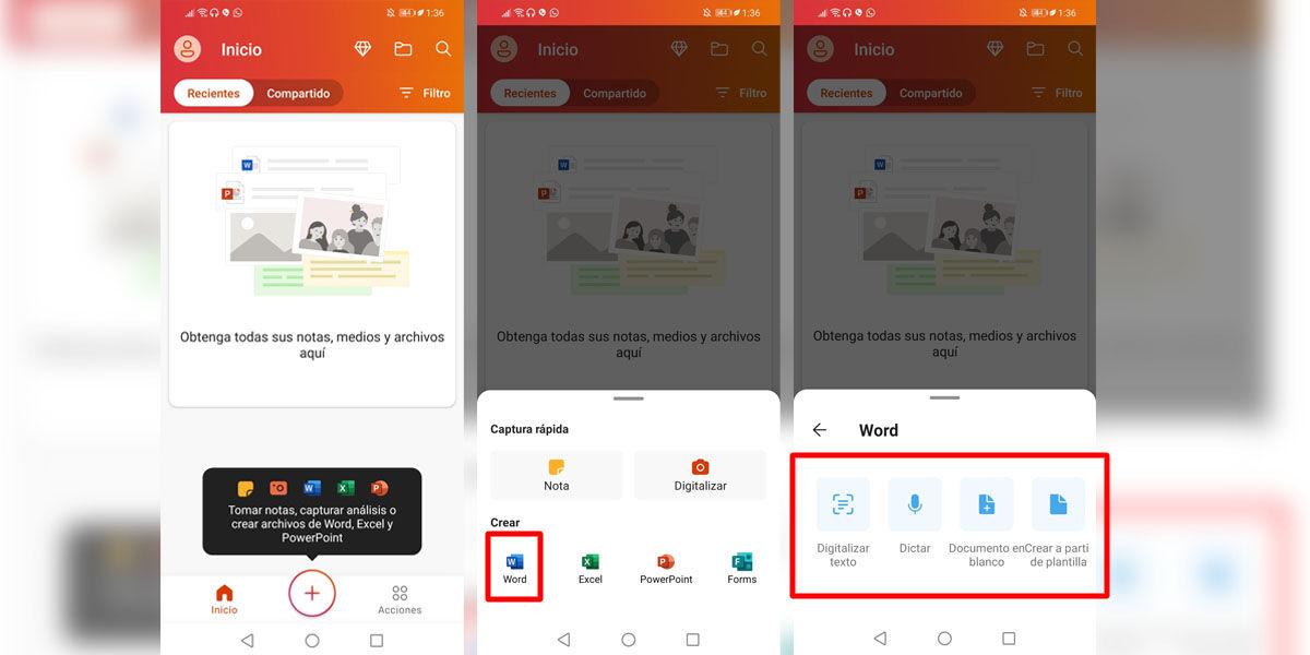 Abrir y escribir en documentos de Microsoft Word en Android desde la app oficial