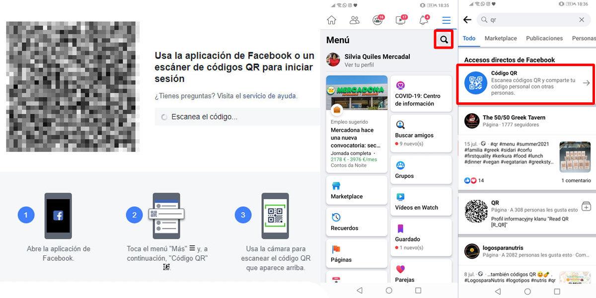 Acceder a Facebook directo sin contraseña usando un código QR desde el móvil