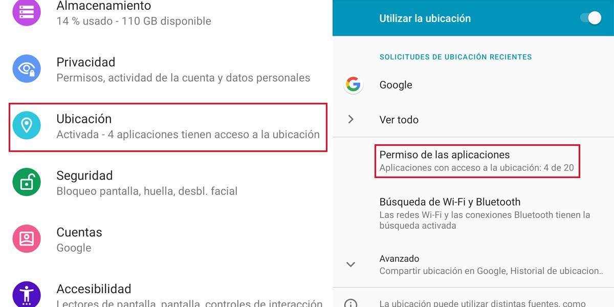 Acceder a la ubicación en los ajustes Android