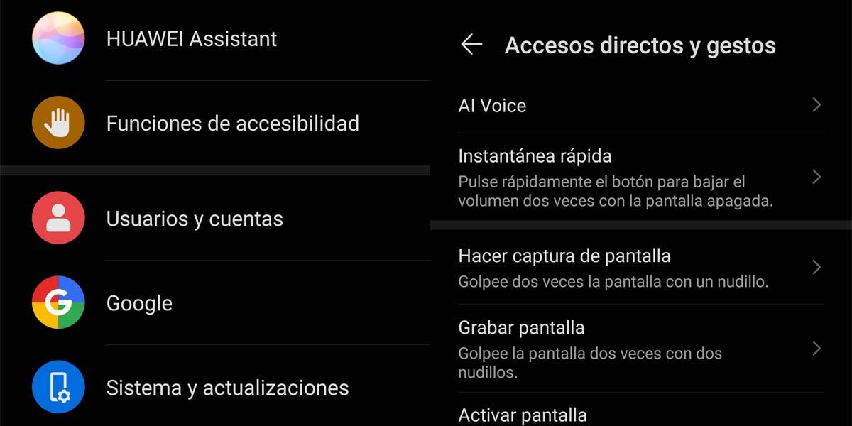 Acceso a los gestos del Huawei P40 Pro