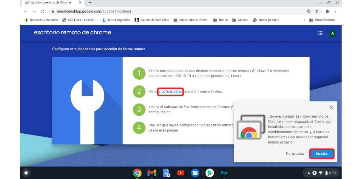 Acceso de remoto de Chrome
