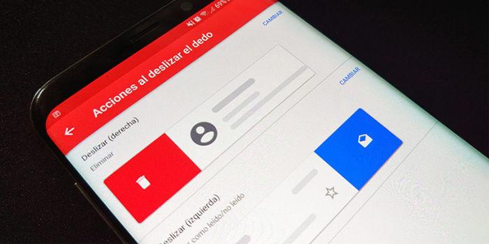 Acciones al deslizar el dedo en Gmail