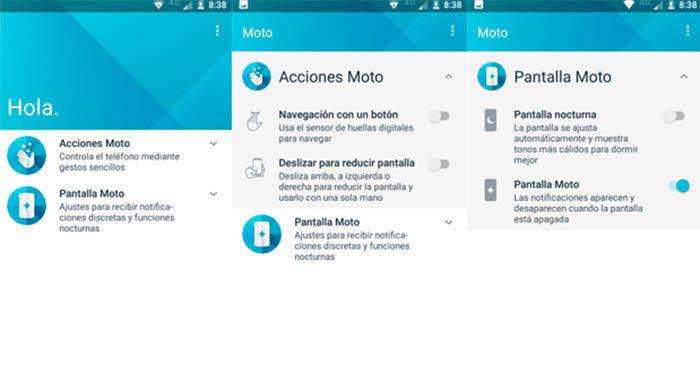 Acciones del Moto E4