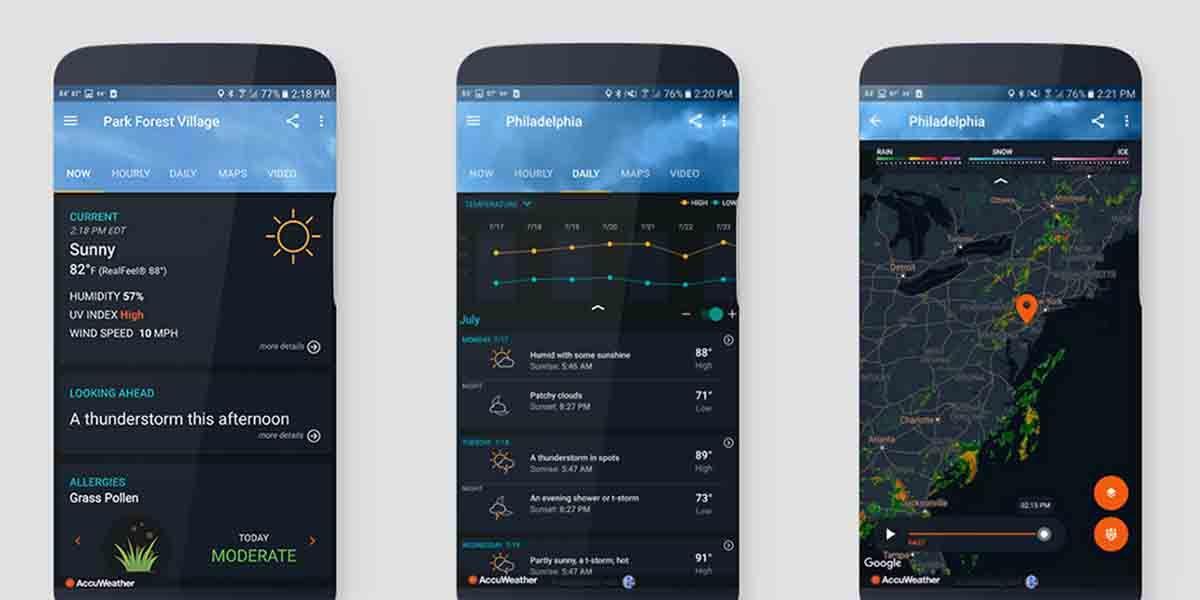AccuWeather alarma de lluvia Android