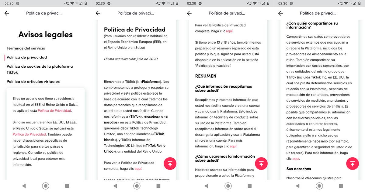 Aceptar politicas de privacidad TikTok 2021