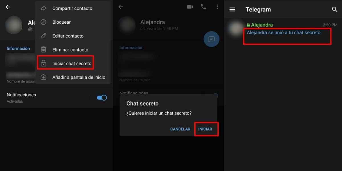 Activa el chat secreto en Telegram