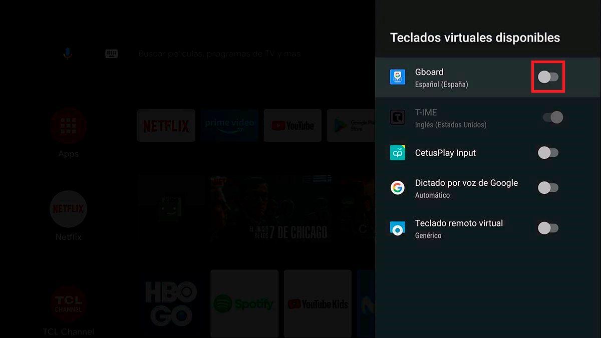 Activar Gboard en Android™ TV