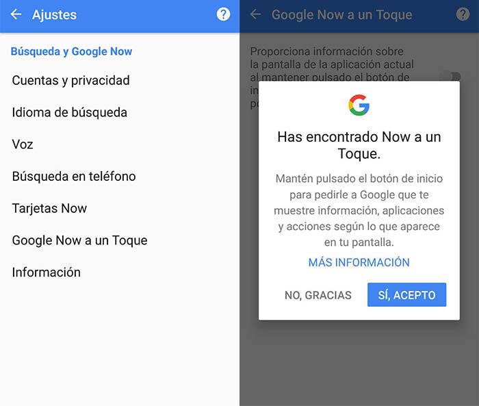 Activar Google Now a un Toque