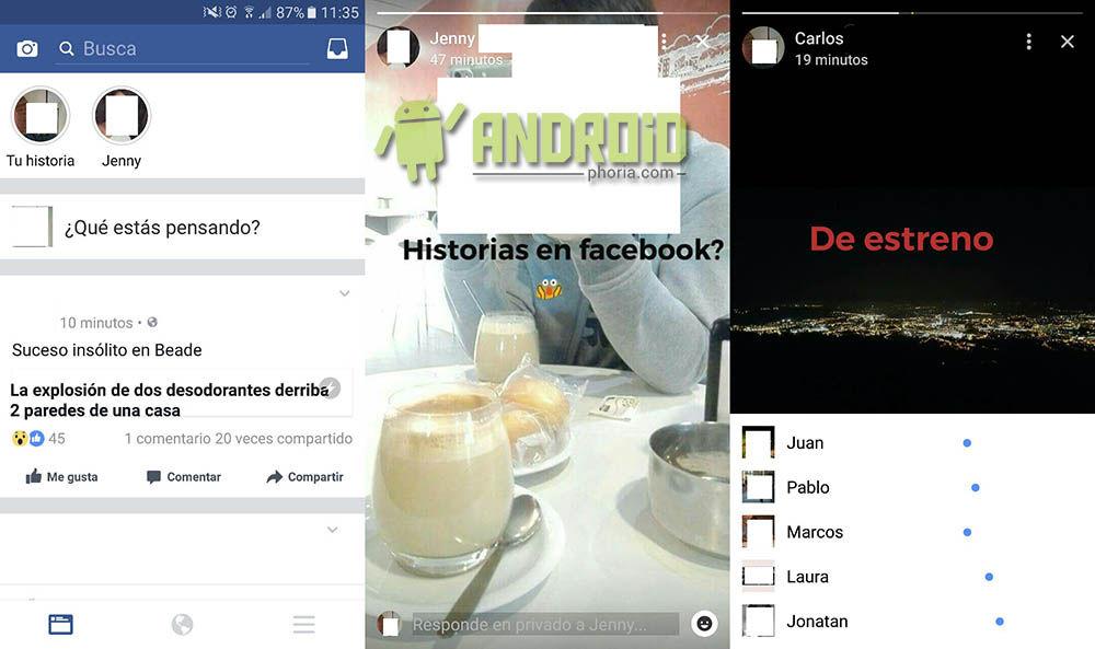 Activar Historias Facebook Android