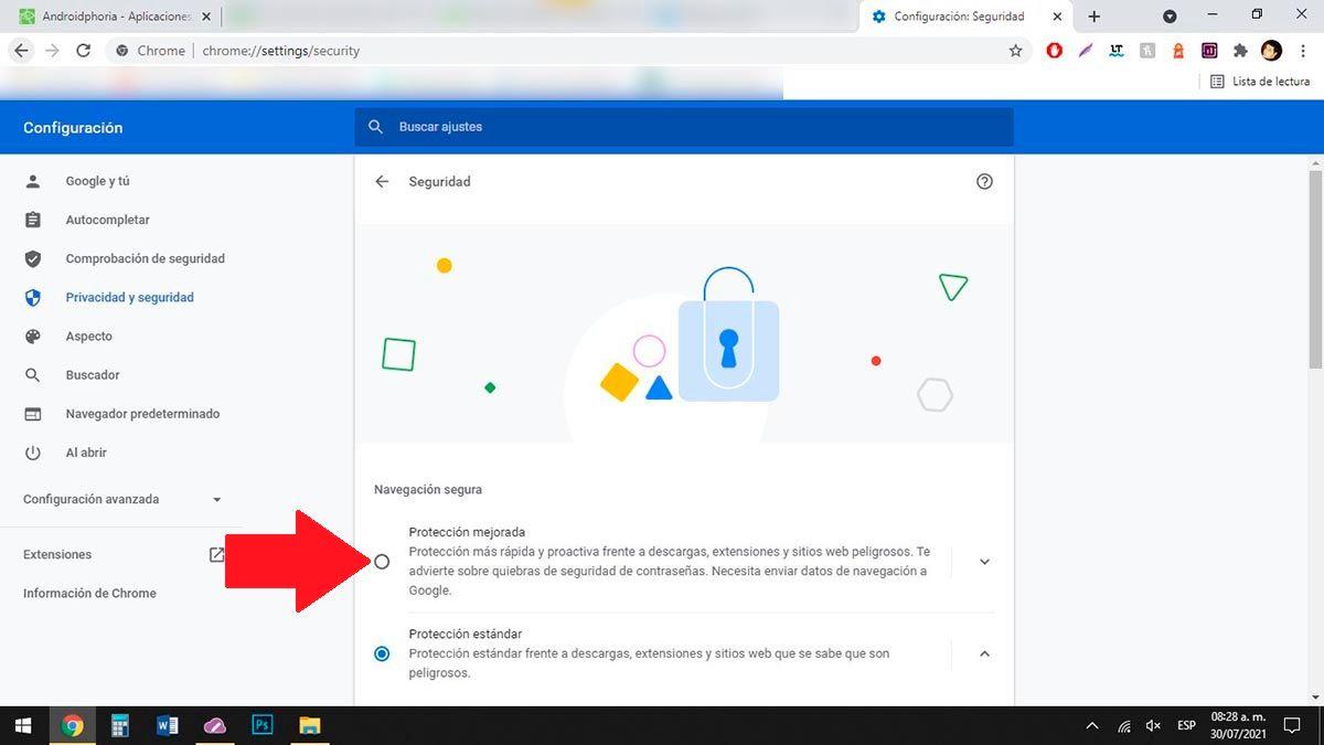 Activar Proteccion mejorada Chrome PC
