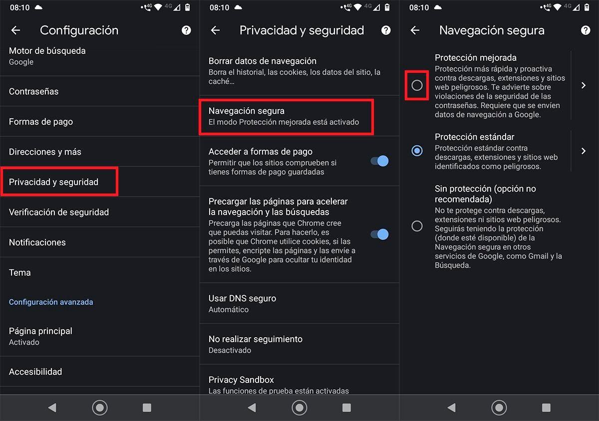 Activar Proteccion mejorada Chrome movil
