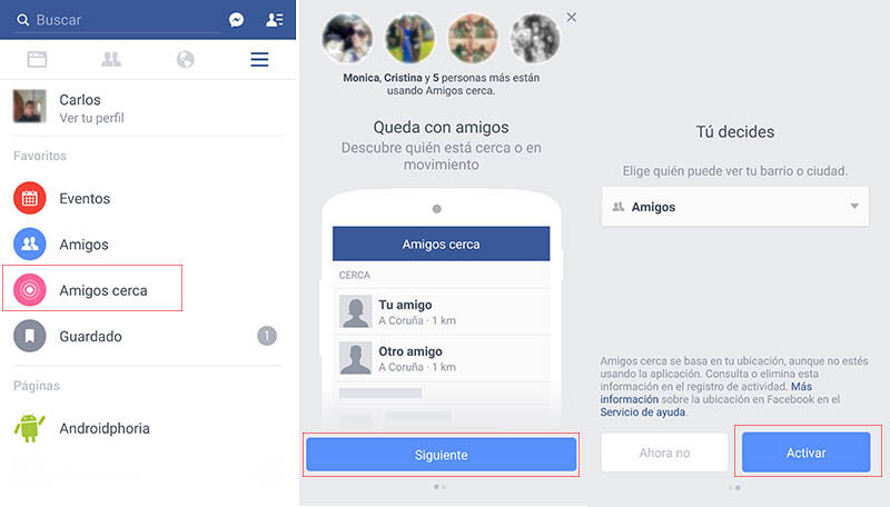 Activar amigos cercanos en Facebook