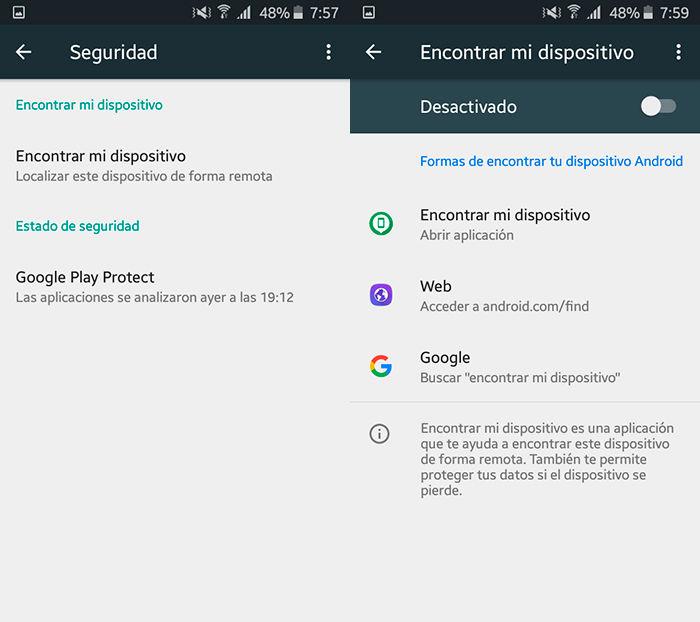 Activar buscar mi dispositivo Android Paso 3