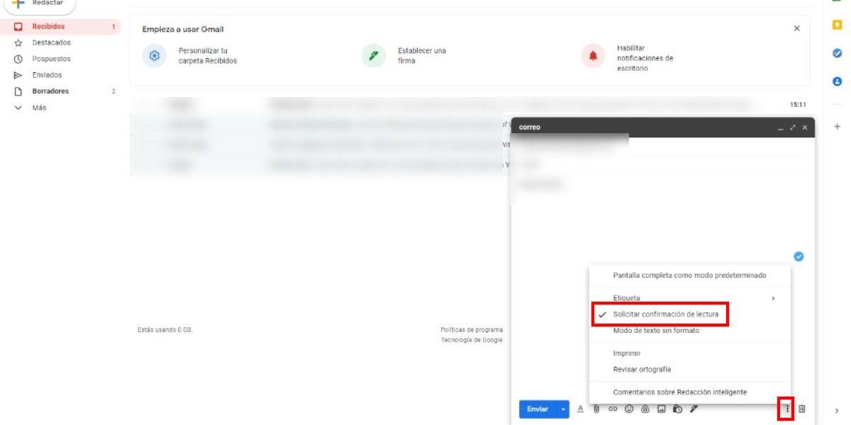 Activar confirmación de lectura en Gmail