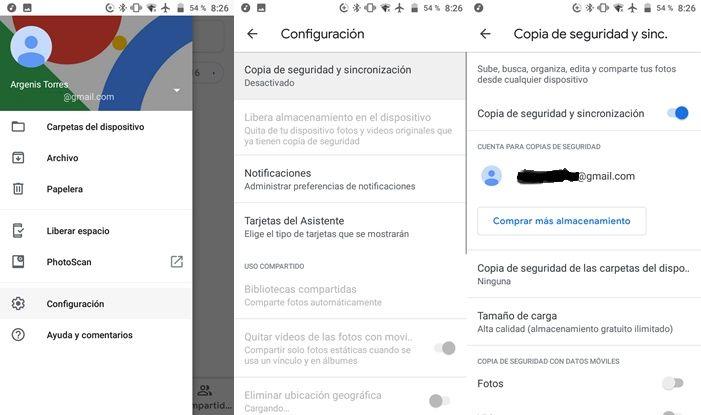 Activar copia de seguridad Google Fotos