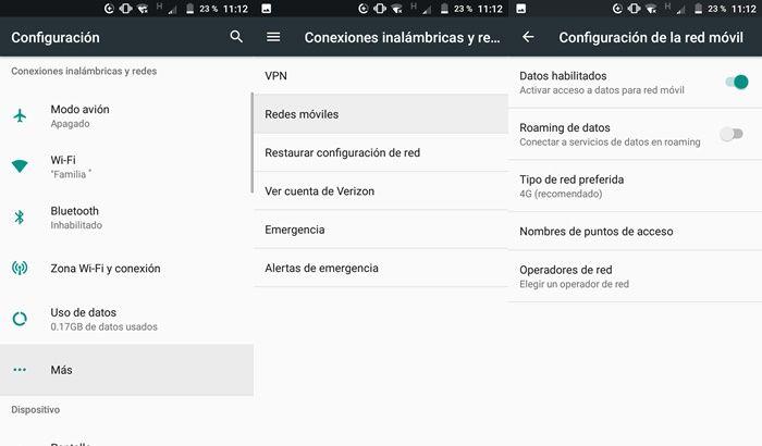 Activar datos en Android