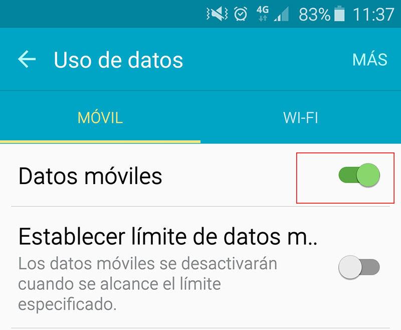 Activar datos móviles Adnroid