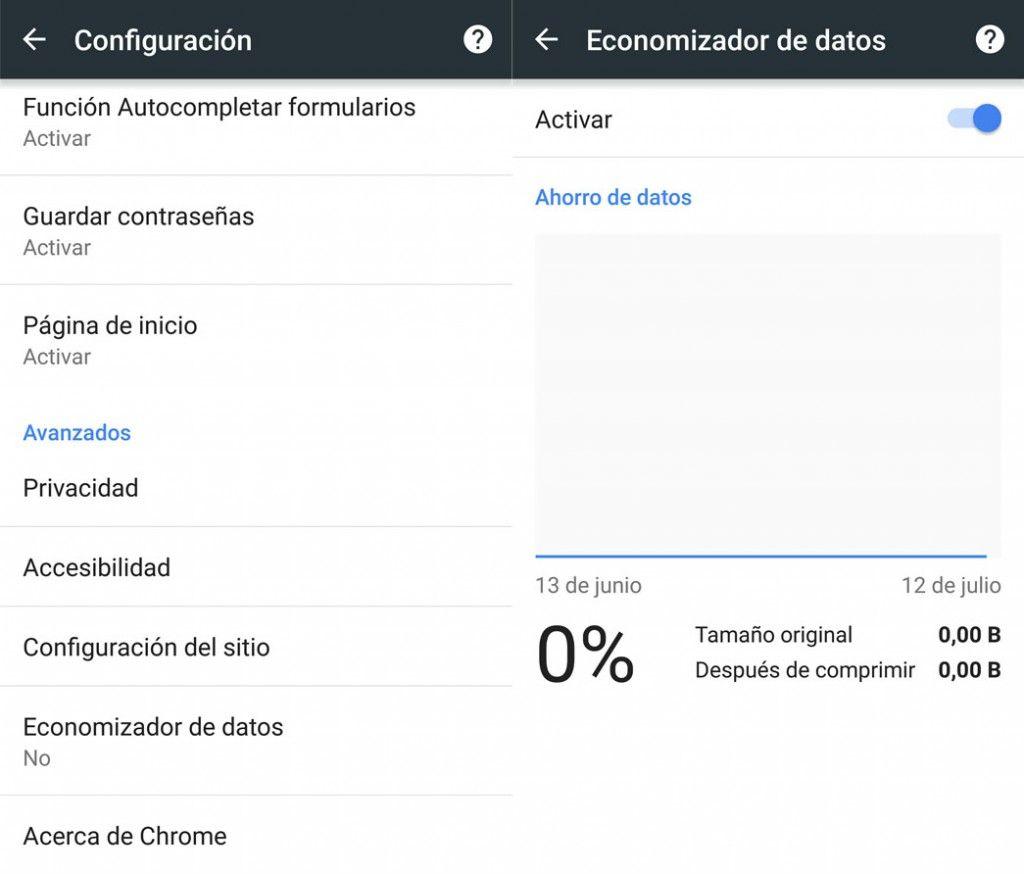 Activar economizador de datos en Chrome