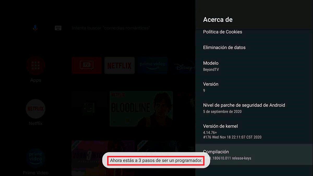 Activar el modo desarrollador Android TV