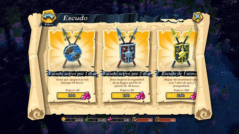 Activar escudo en Plunder Pirates