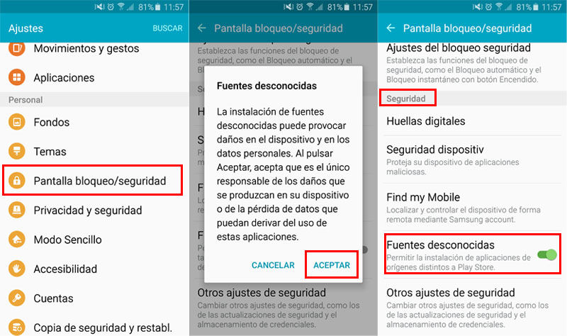 Activar fuentes desconocidas en el Galaxy S6