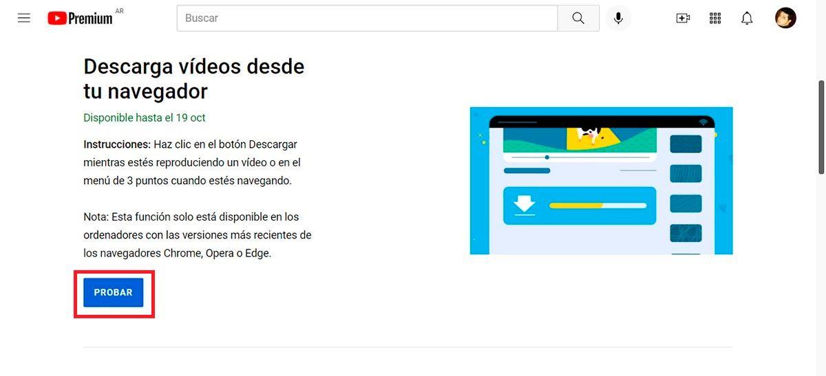 Activar funcion para descargar videos de YouTube oficialmente