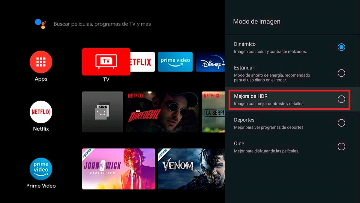 Activar modo HDR Android TV TCL