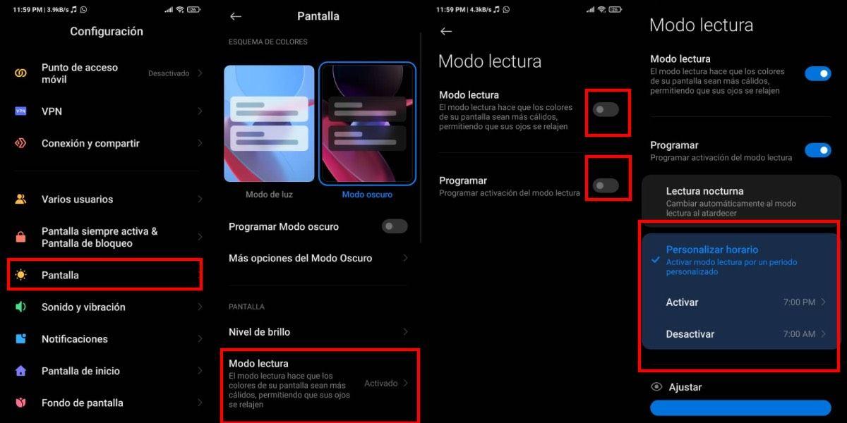 Activar modo lectura en Xiaomi