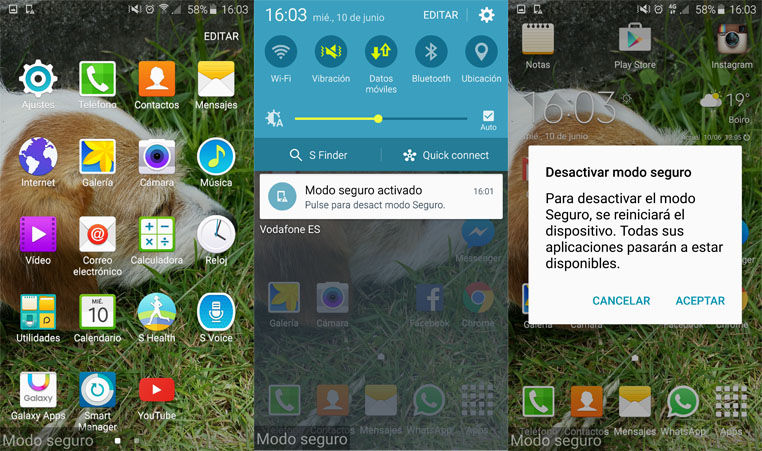 Activar modo seguro Galaxy S6