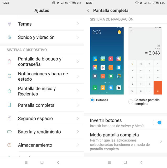 Activar pantalla completa Xiaomi MIUI